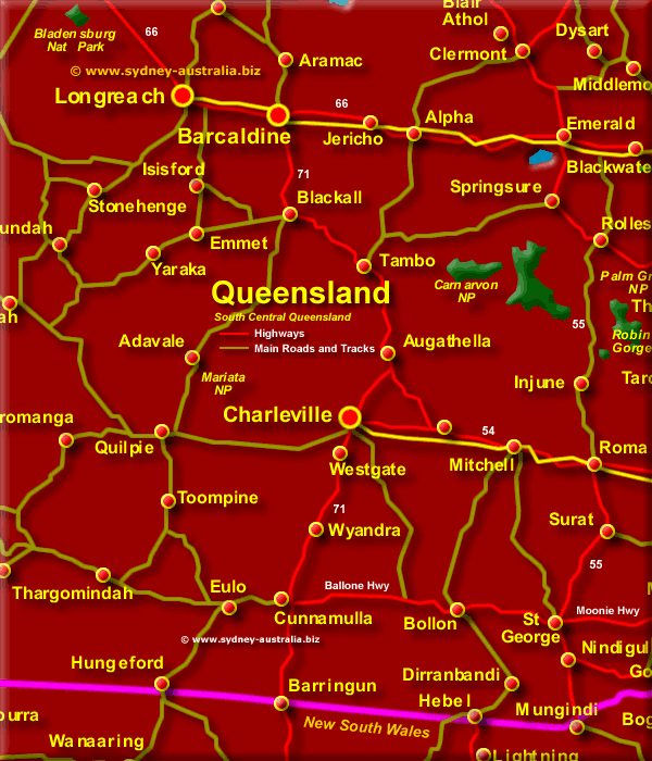 Map of Queensland South Central - Click to Zoom Out
