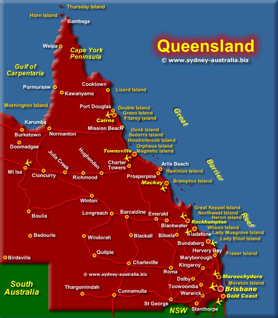 Queensland Map - Click for Zoom Map