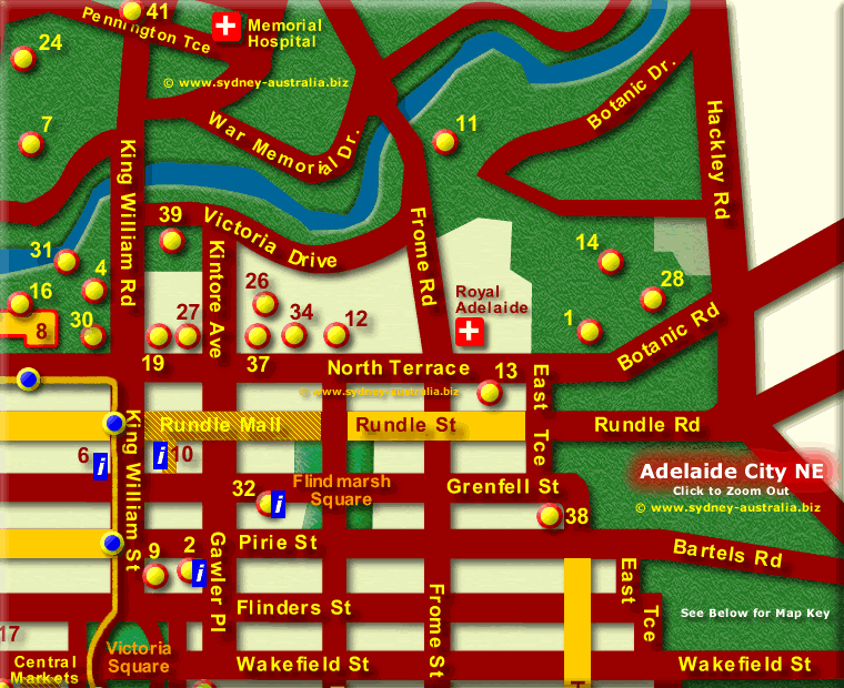 Adelaide City Attractions Map NE - Click to Zoom Out