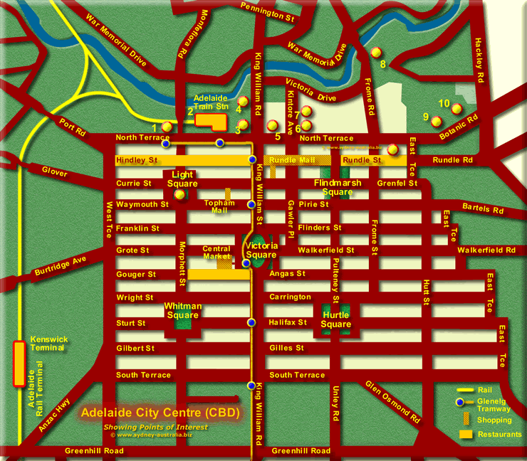 Adelaide CBD - Click for more detailed Map