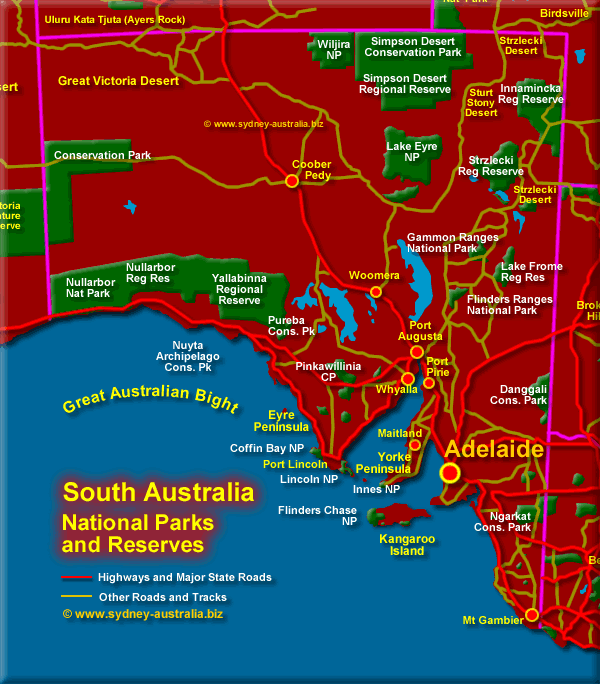 Map of National Parks in South Australia