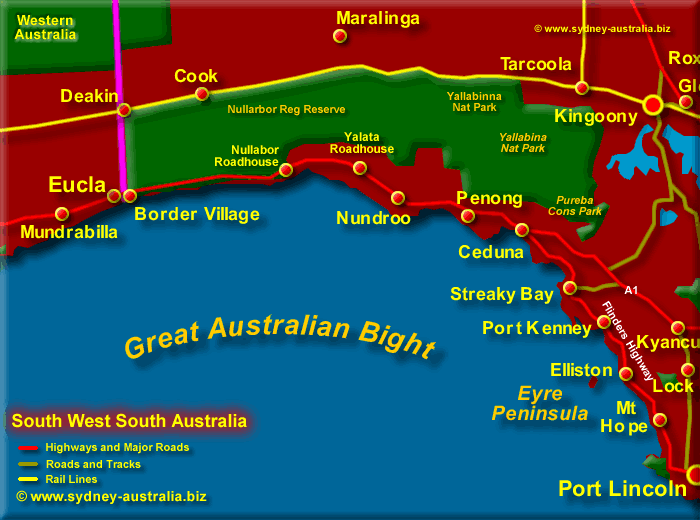 map south united australia ststae of west