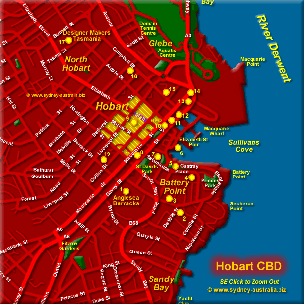 Hobart Central City - Click to Zoom Out
