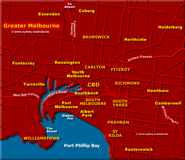 Greater Melbourne, Victoria - Click to Zoom in to Melbourne CBD