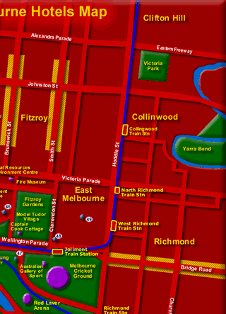 Melbourne Hotels Map showing location of Tourist Spots