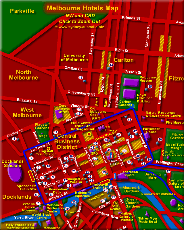 Melbourne CBD Hotels Map