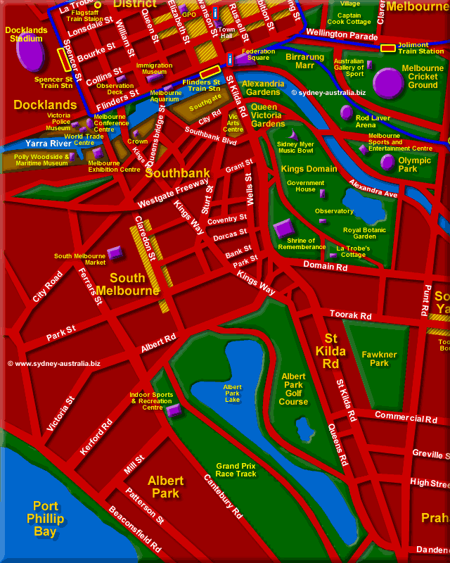 Map Showing South Melbourne - Click to Zoom Out