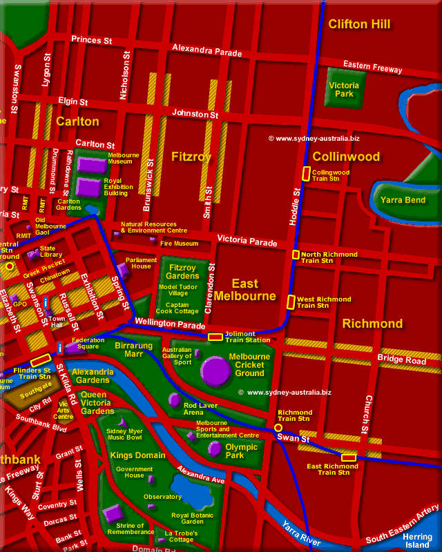 Melbourne Australia City Map - Click to Zoom Out