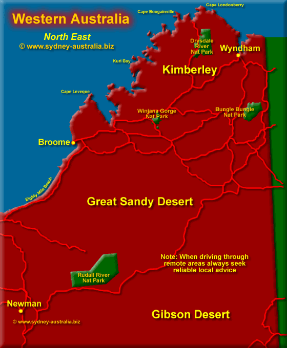Click to Zoom Out - North East Western Australia map