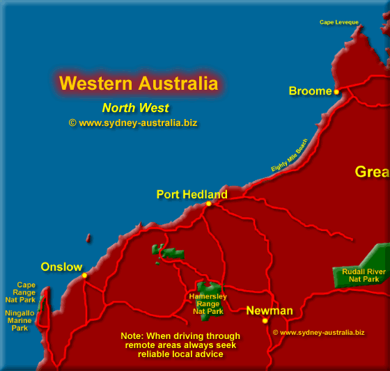 Map of Western Australia - North West - Click to Zoom Out