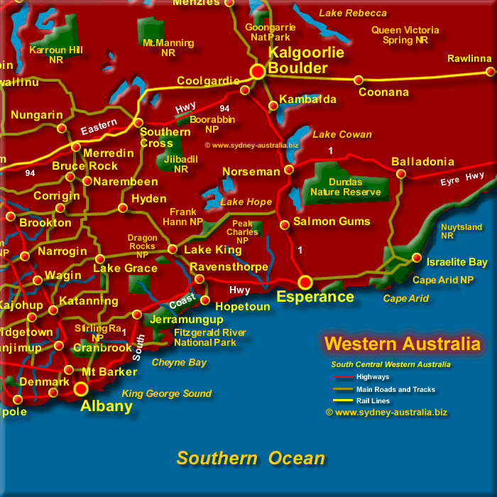 South Western Australia Central Map - Click to Zoom Out