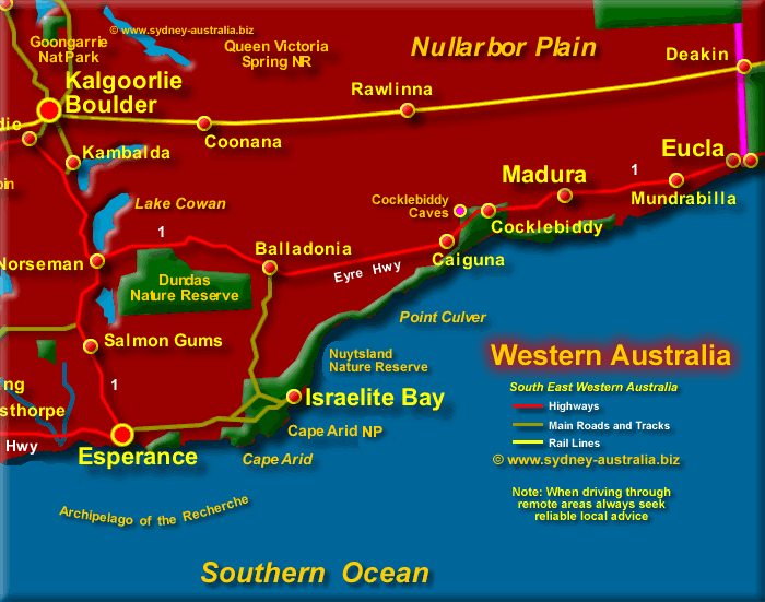 Map of South East Western Australia - Click to Zoom Out