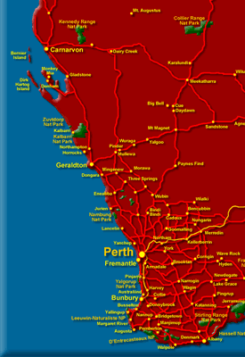 Western Australia Maps WA Regions And Places To Visit - Map of western australia with towns