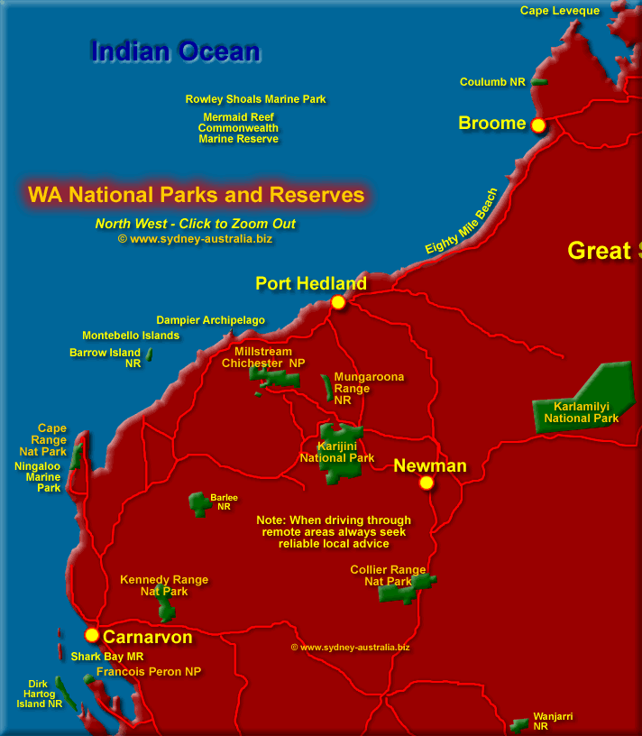 Parks and Reserves in north west WA. Click to Zoom Out