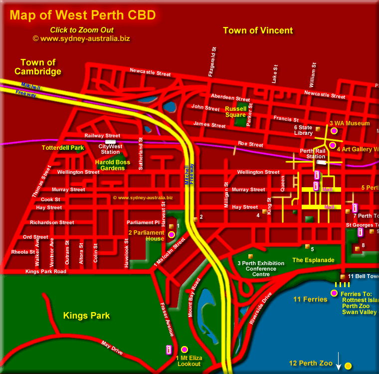 Map of Perth - Click to Zoom Out