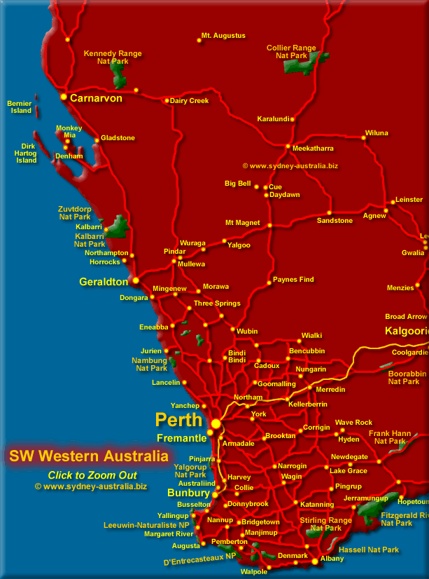 Click to Zoom Out to Western Australia Map