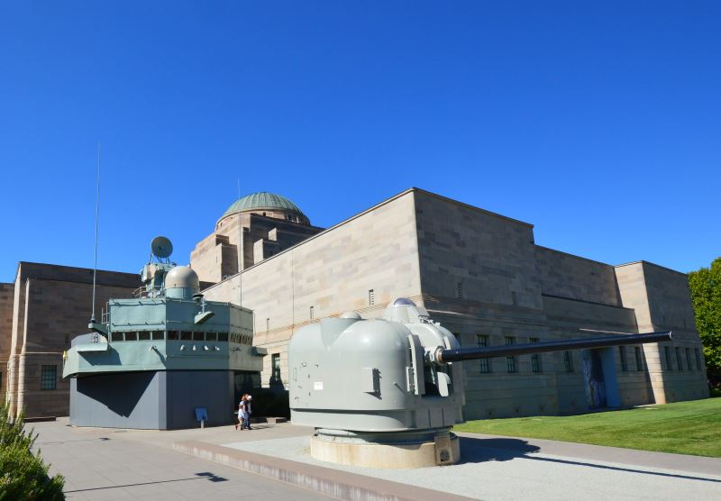 The Bridge and a 5inch Gun from the HMAS Brisbane at the Australian National Maritime Museum