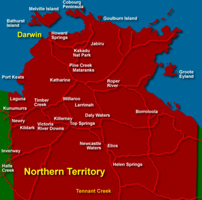 The Northern Territory Australia with Map