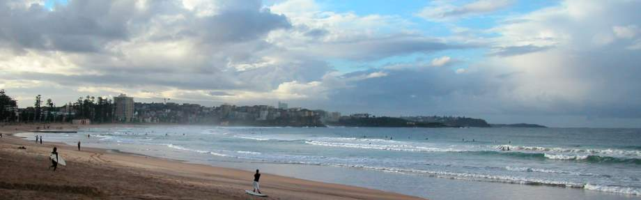 Manly Beach is the first beach from the city along the string of the Northern Beaches of Sydney