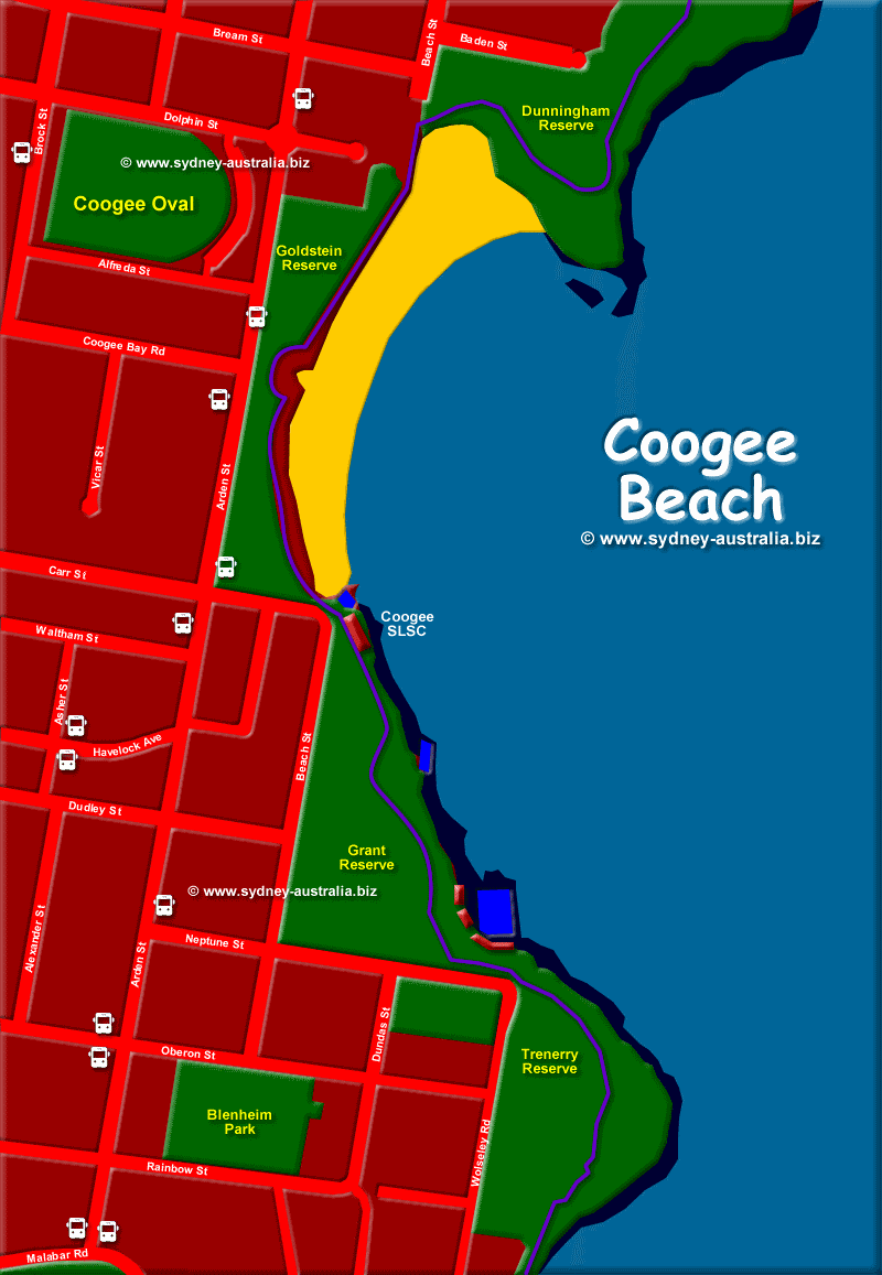 Coogee Beach Map, showing the Sydney Eastern Beaches Walk
