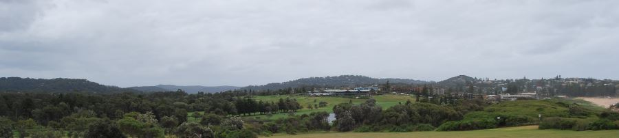 With the beach on the right, Mona Vale Golf Course.