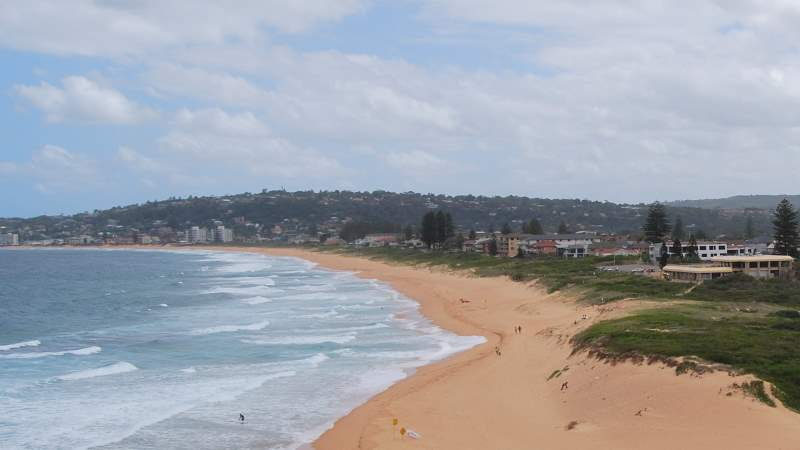Sydney Narrabeen Beach Peninsula, looking South. The North Narrabeen Surf Life Saving Club is on the Right