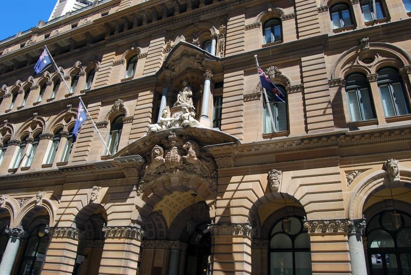 Yellow Sandstone in Sydney's Main Buildings; The General Post Office (GPO) Facade, now occupied by the Hotel Westin
