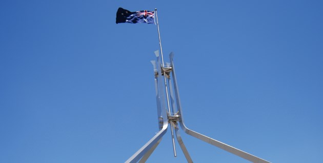 Flag atop Parliament House, Canberra ACT