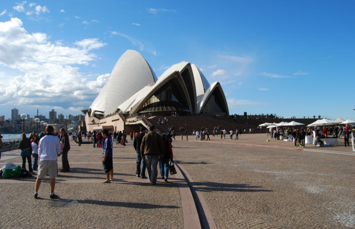 People enjoying the Sydney Opera House Grounds