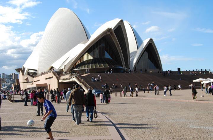 People enjoying the Sydney Opera House Grounds