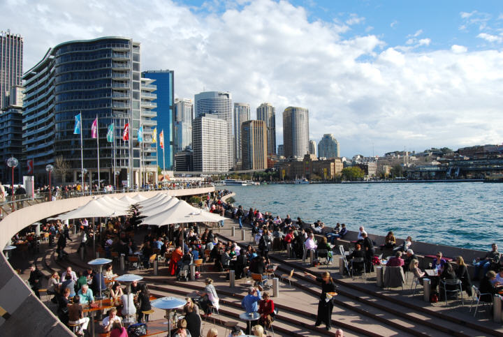 Circular Quay and the City- The Rocks Historical District is to the Right