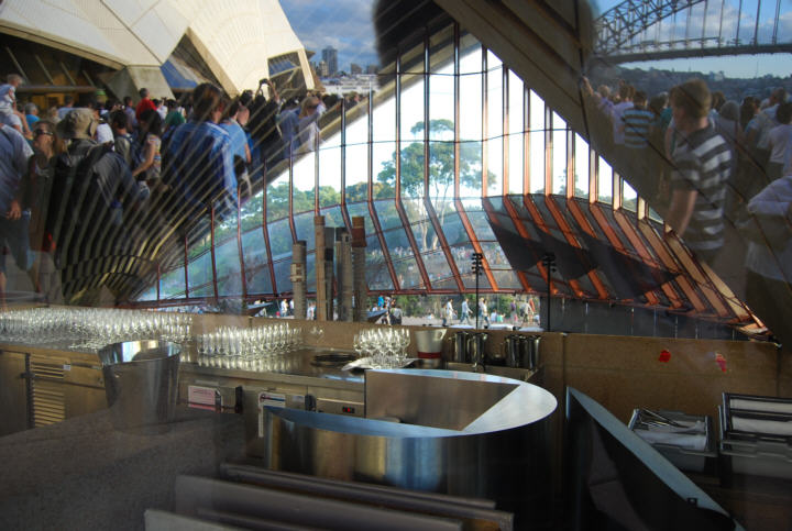 Reflections in the Sydney Opera House Restaurant Window - People, SOH and Harbour Bridge