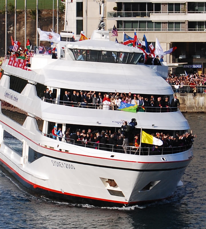 Thousands of people got a great view of the Pope on beautiful Sydney Harbour