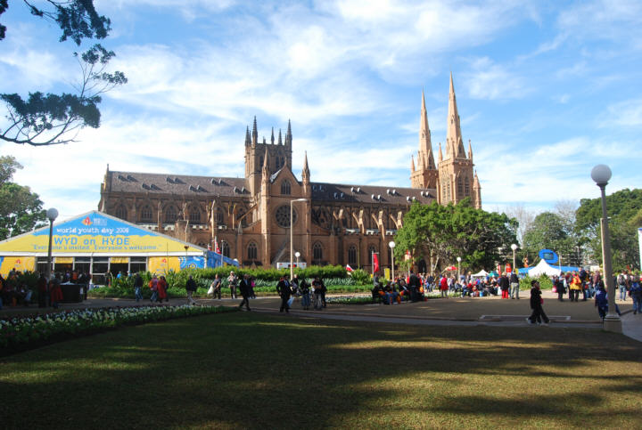 St Marys Cathedral as a backdrop for many of the WYD events in Sydney.