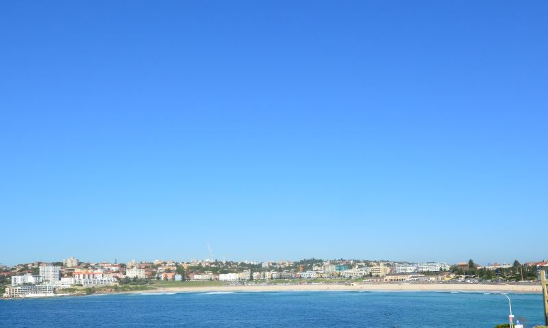 Showing the magnificent crescent shape of Bondi Beach. Photo taken on a clear winter day.