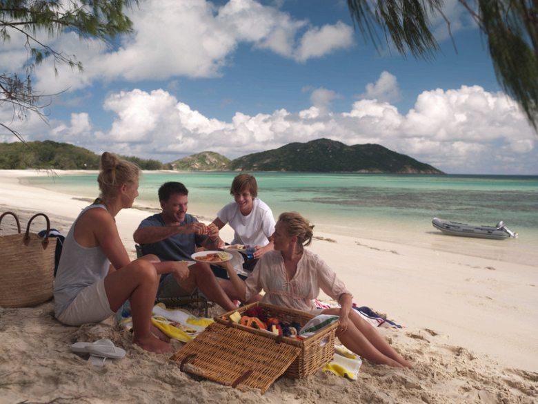 Picnicking on Lizard Island, Great Barrier Reef Australia.