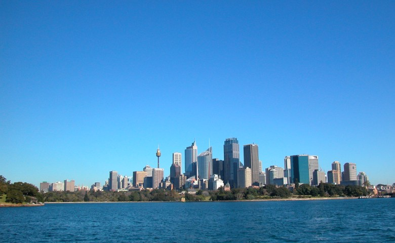 The Botanic Gardens as seen from Sydney Harbour