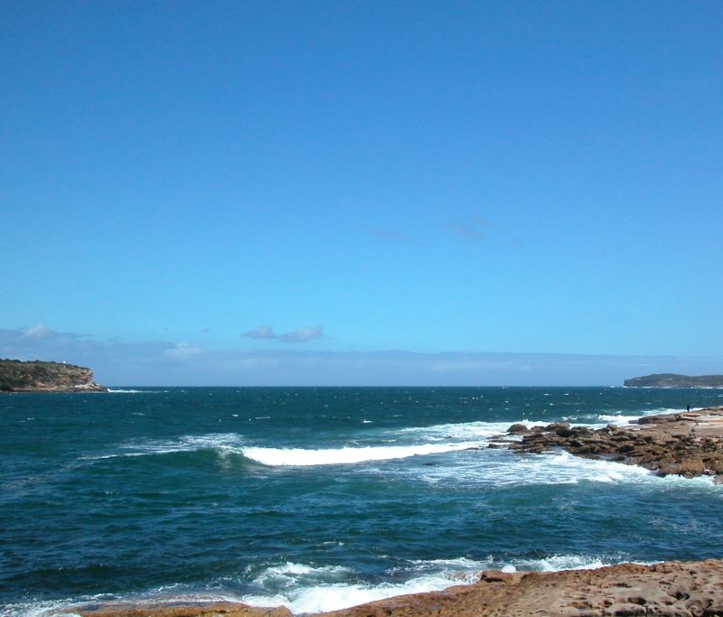 The Entrance to Botany Bay from the Ocean. On both the headlands are Kamay Botany Bay National Park