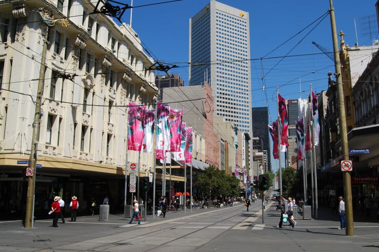 Bourke Street - Tramlines and Shopping Plaza