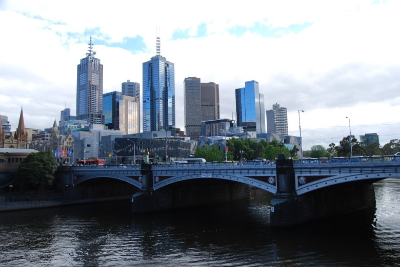 Yarra River - Melbourne CBD Princes Bridge with Federation Square in the background, Flinders St. Station extreme left.