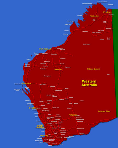 Western Australia Tourist Guide Maps Travel Info - Map of western australia with towns