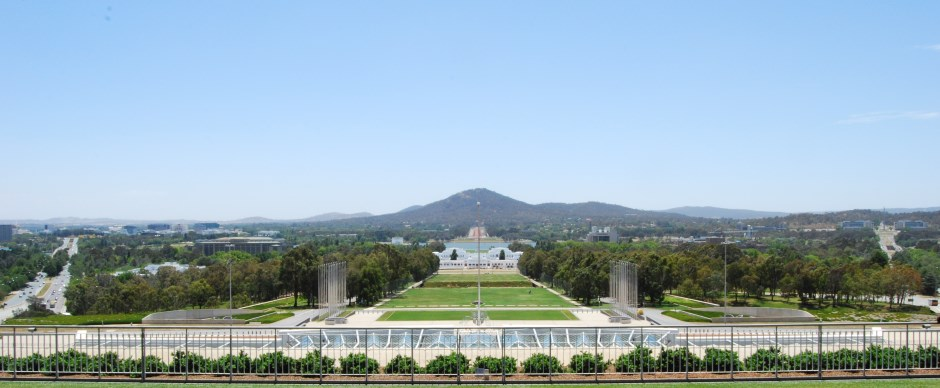Exploring Canberra. View from the roof of New Parliament House of Australia