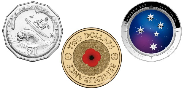 Three of the amazing Australian coins produced by the Royal Australian Mint RAM