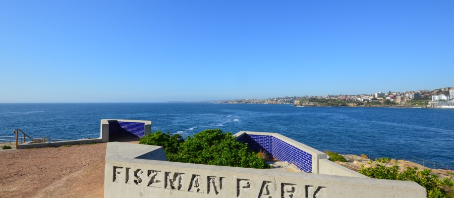 Bondi Beach Parks: Fiszman and the coast showing the coastal Eastern Beaches Walk.