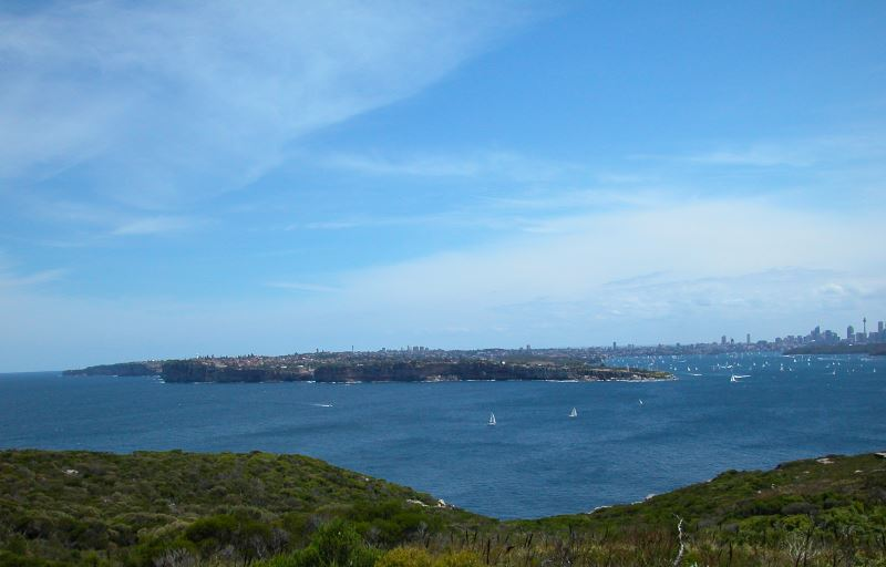 South Head, the harbour and the city in the background