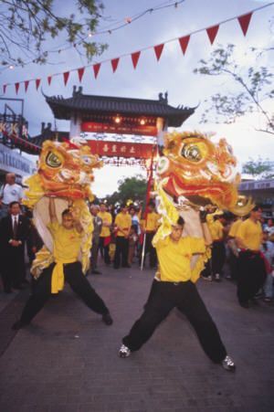 Lion dancing under Pai Lau Gate<br />during 15 days of Celebrations in September