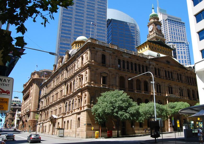 Bridge St. Sandstone Buildings, including the NSW Department of Lands in the Foreground