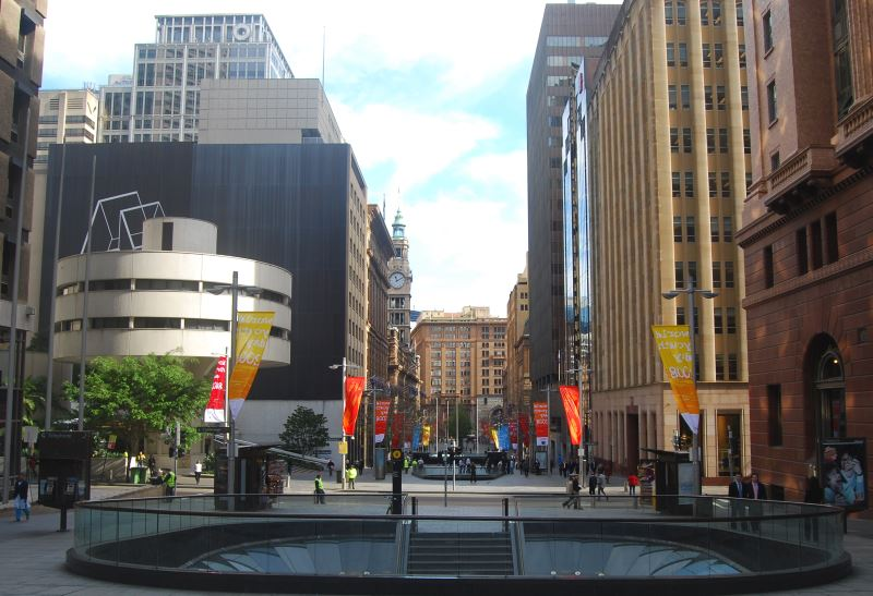 Early morning photo shot of Martin Place showing the entrance to the Train Station