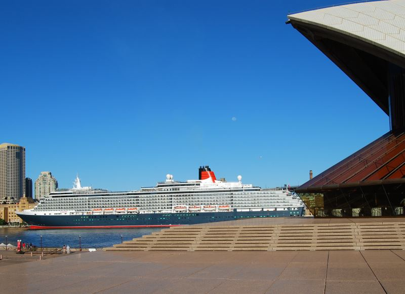 The 90,000 tonne Queen Victoria, berthed in Sydney Australia Harbour.
