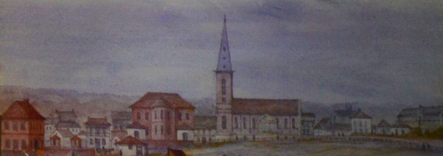 Watercolour of the early church as seen from Hyde Park (Credit: Mitchell Library)